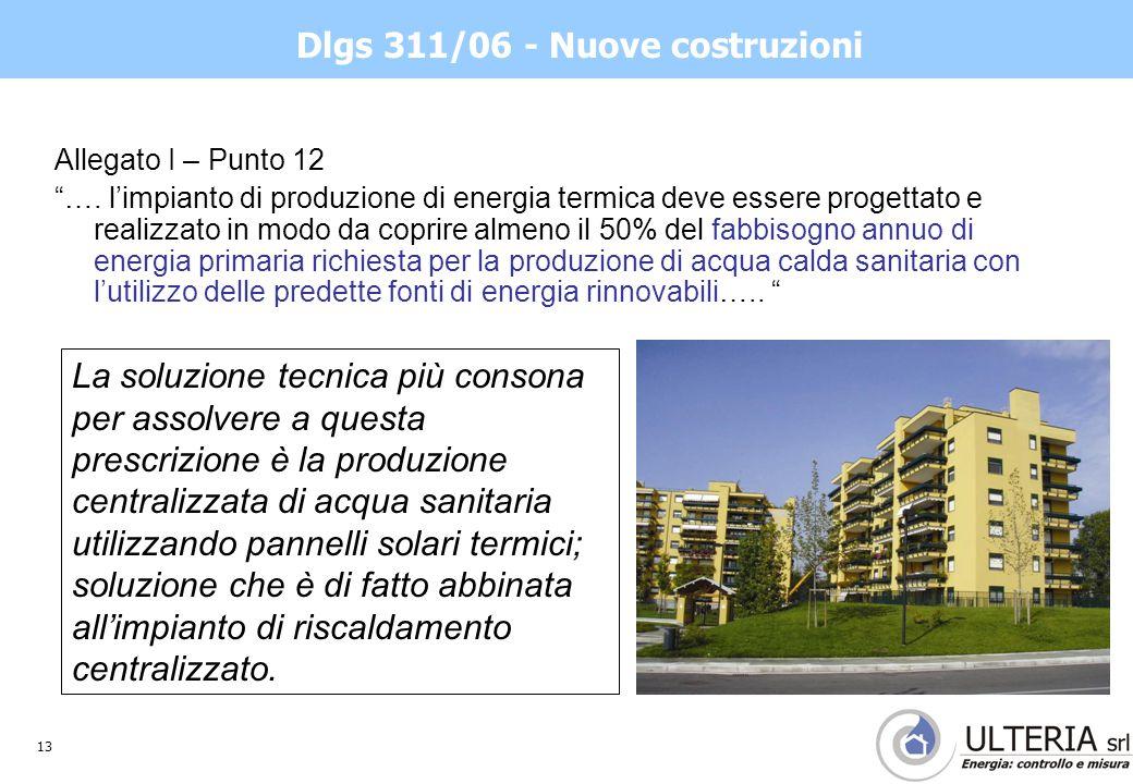 13 Dlgs 311/06 - Nuove costruzioni Allegato I – Punto 12 ….