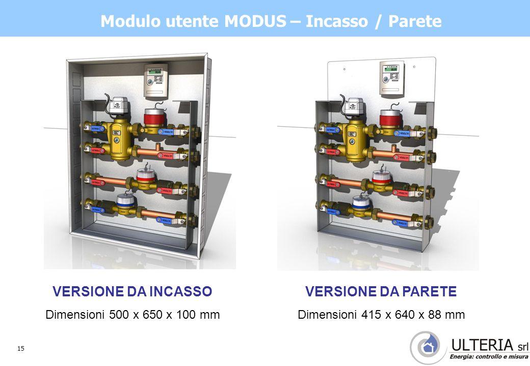 15 Modulo utente MODUS – Incasso / Parete VERSIONE DA INCASSO Dimensioni 500 x 650 x 100 mm VERSIONE DA PARETE Dimensioni 415 x 640 x 88 mm