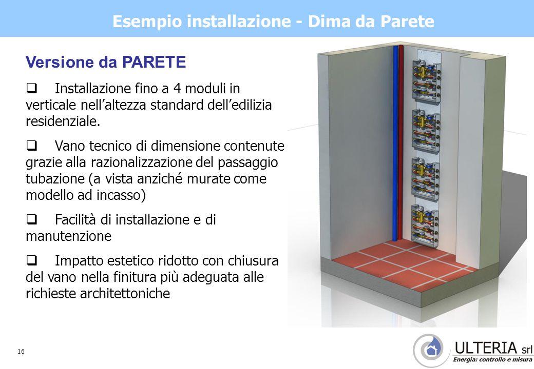 16 Esempio installazione - Dima da Parete Versione da PARETE  Installazione fino a 4 moduli in verticale nell'altezza standard dell'edilizia residenziale.