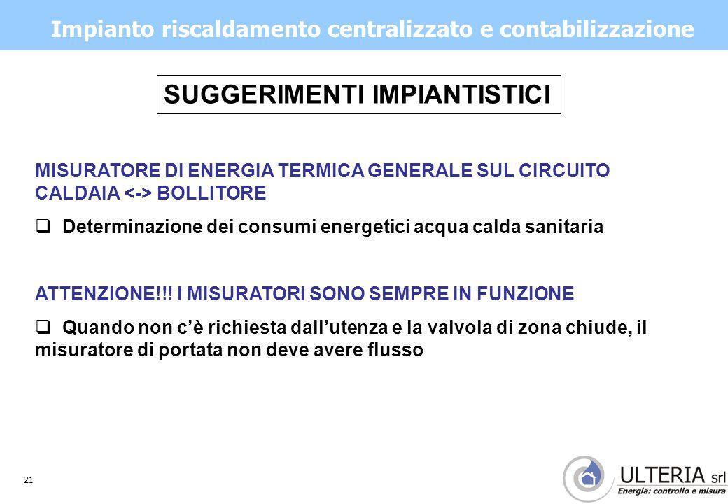 21 Impianto riscaldamento centralizzato e contabilizzazione MISURATORE DI ENERGIA TERMICA GENERALE SUL CIRCUITO CALDAIA BOLLITORE  Determinazione dei consumi energetici acqua calda sanitaria ATTENZIONE!!.
