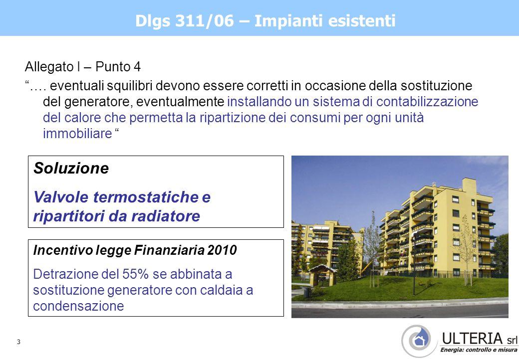 3 Dlgs 311/06 – Impianti esistenti Allegato I – Punto 4 ….