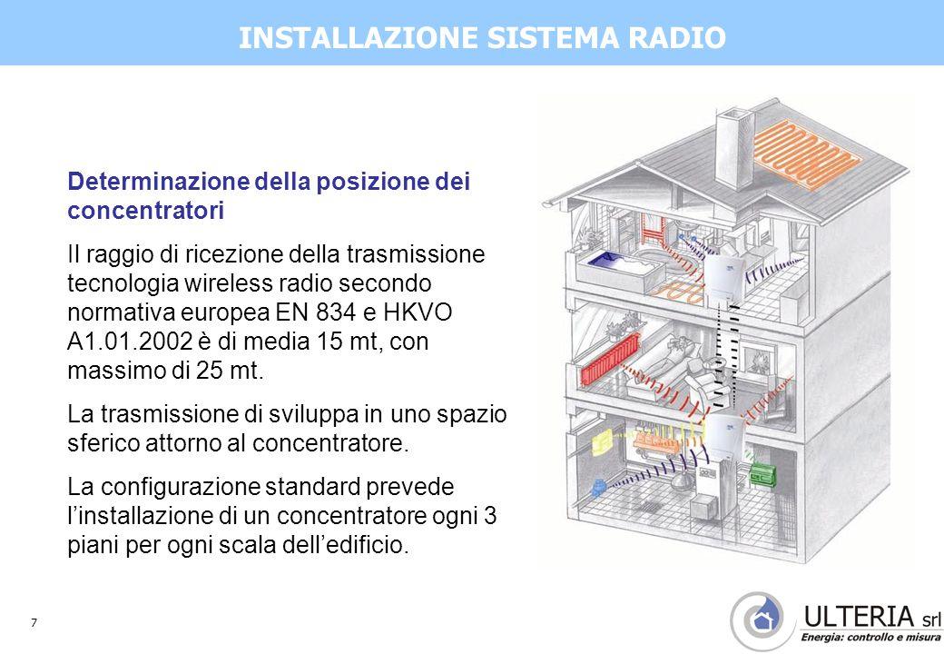 8 Impianto riscaldamento centralizzato e contabilizzazione INTERVENTO IN CENTRALE TERMICA per adeguare il circuito di riscaldamento alla portata variabile causata dalle valvole termostatiche  Installazione pompe ad inverter e portata variabile  Installazione valvole di sovrappressione DIVISIONE DEI CONSUMI se la CENTRALE TERMICA produce acqua calda sanitaria  Installazione di misuratori di energia termica separati per il circuito riscaldamento e il circuito bollitori ACS CONSIDERAZIONE IMPIANTISTICHE
