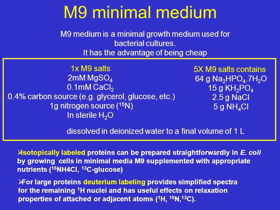 M9 medium is a minimal growth medium used for bacterial cultures. It has the advantage of being cheap M9 minimal medium  Isotopically labeled protein