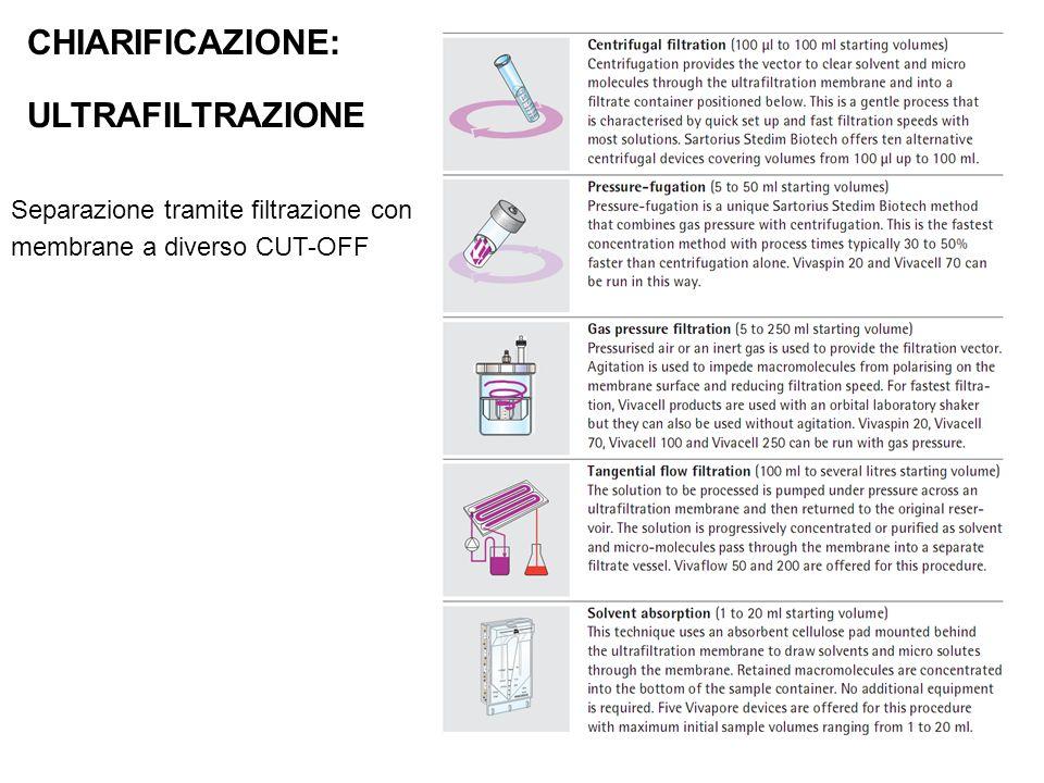 CHIARIFICAZIONE: ULTRAFILTRAZIONE Separazione tramite filtrazione con membrane a diverso CUT-OFF