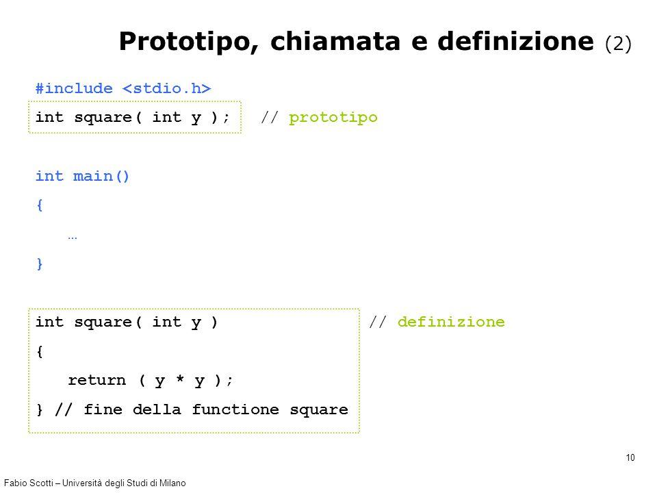 Fabio Scotti – Università degli Studi di Milano 10 #include int square( int y ); // prototipo int main() { … } int square( int y ) // definizione { re