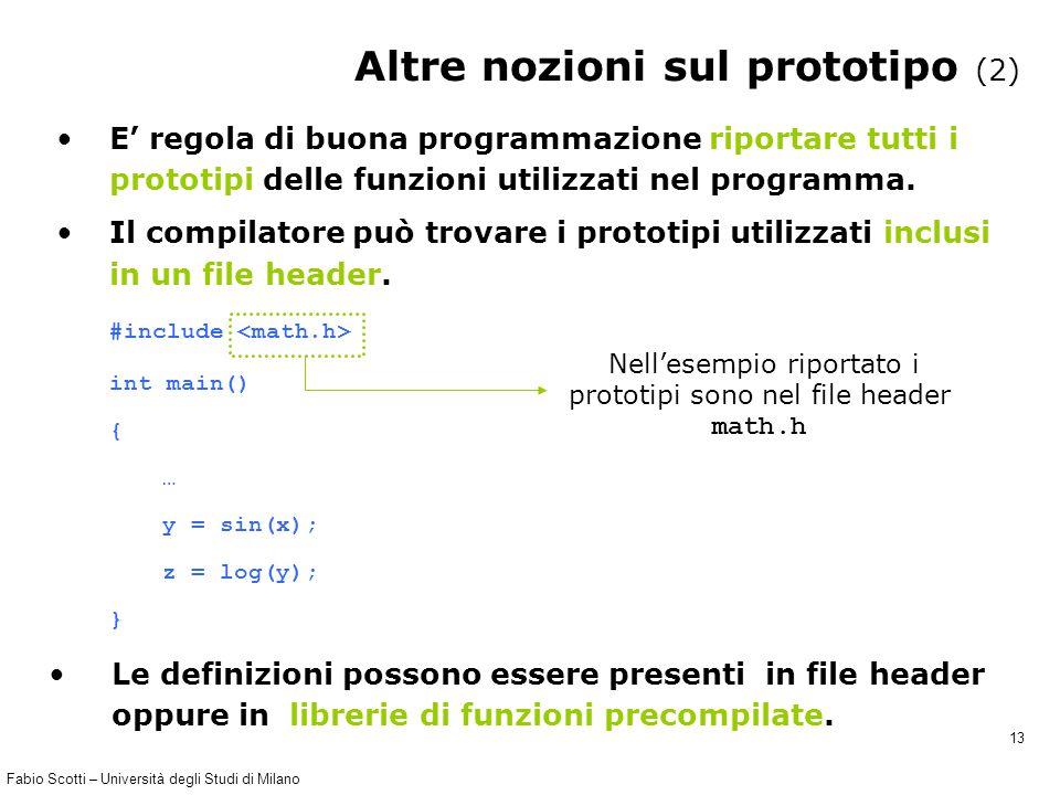 Fabio Scotti – Università degli Studi di Milano 13 Altre nozioni sul prototipo (2) E' regola di buona programmazione riportare tutti i prototipi delle