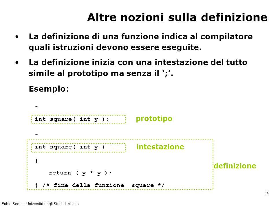 Fabio Scotti – Università degli Studi di Milano 14 … int square( int y ); … int square( int y ) { return ( y * y ); } /* fine della funzione square */