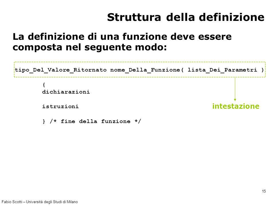 Fabio Scotti – Università degli Studi di Milano 15 tipo_Del_Valore_Ritornato nome_Della_Funzione( lista_Dei_Parametri ) { dichiarazioni istruzioni } /