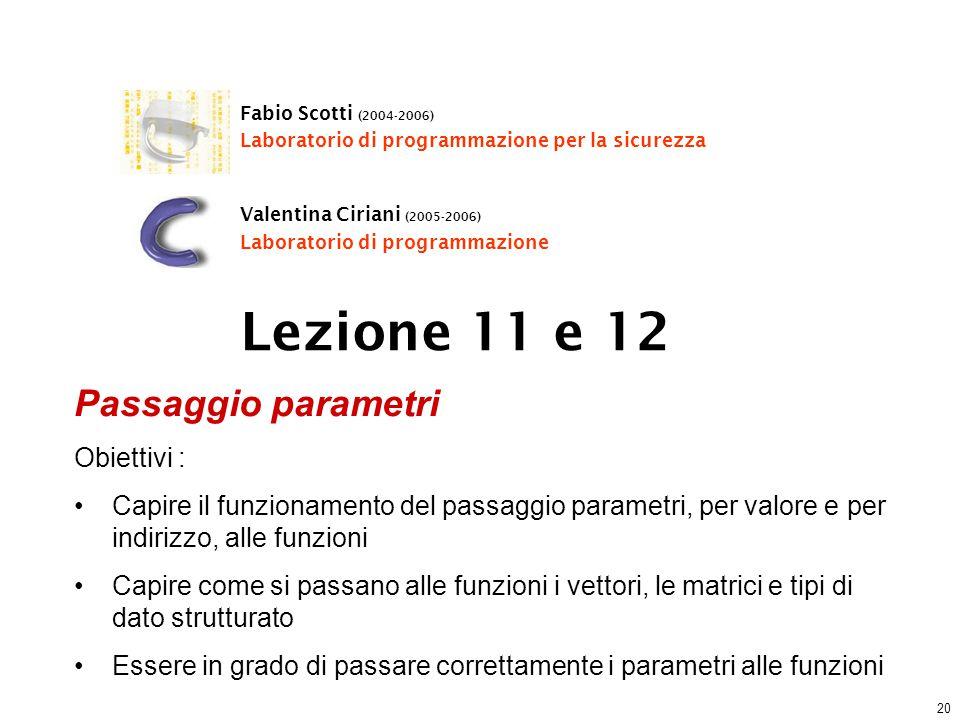 20 Lezione 11 e 12 Fabio Scotti (2004-2006) Laboratorio di programmazione per la sicurezza Valentina Ciriani (2005-2006) Laboratorio di programmazione