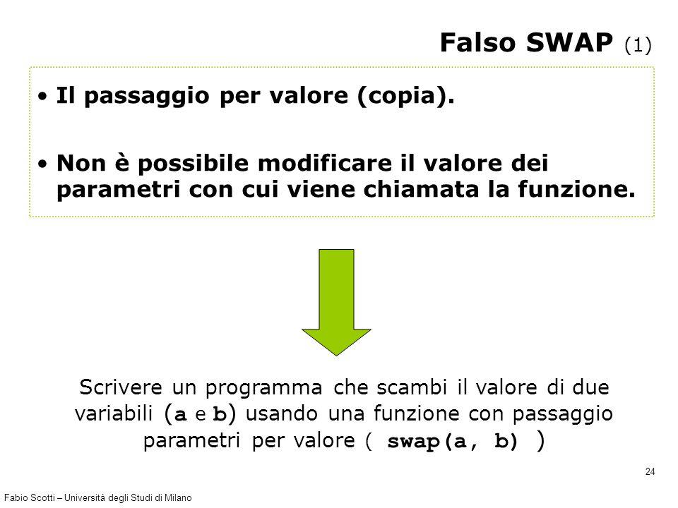 Fabio Scotti – Università degli Studi di Milano 24 Falso SWAP (1) Il passaggio per valore (copia). Non è possibile modificare il valore dei parametri