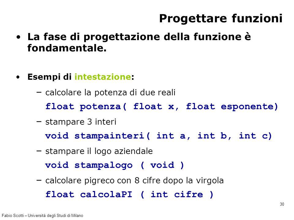 Fabio Scotti – Università degli Studi di Milano 30 Progettare funzioni La fase di progettazione della funzione è fondamentale. Esempi di intestazione: