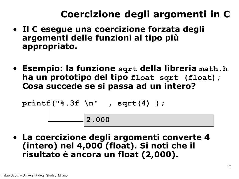 Fabio Scotti – Università degli Studi di Milano 32 Coercizione degli argomenti in C Il C esegue una coercizione forzata degli argomenti delle funzioni