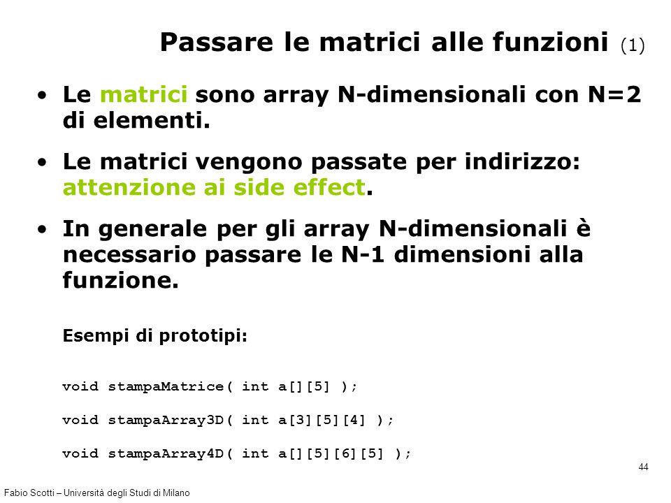 Fabio Scotti – Università degli Studi di Milano 44 Passare le matrici alle funzioni (1) Le matrici sono array N-dimensionali con N=2 di elementi. Le m