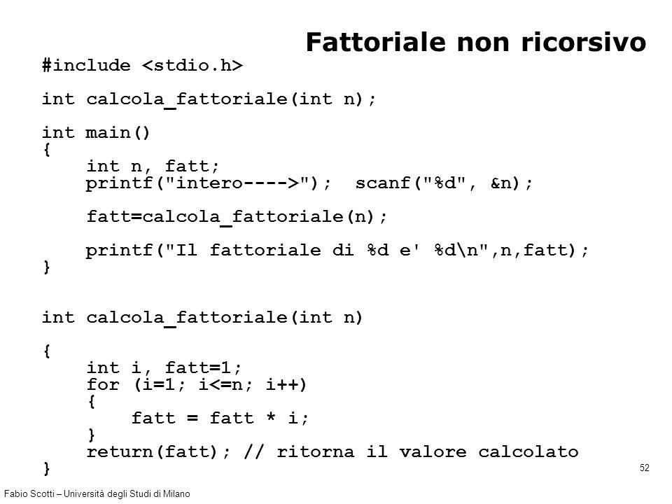 Fabio Scotti – Università degli Studi di Milano 52 Fattoriale non ricorsivo #include int calcola_fattoriale(int n); int main() { int n, fatt; printf(