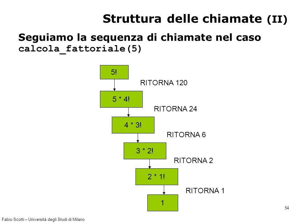 Fabio Scotti – Università degli Studi di Milano 54 Struttura delle chiamate (II) Seguiamo la sequenza di chiamate nel caso calcola_fattoriale(5) 5! 5