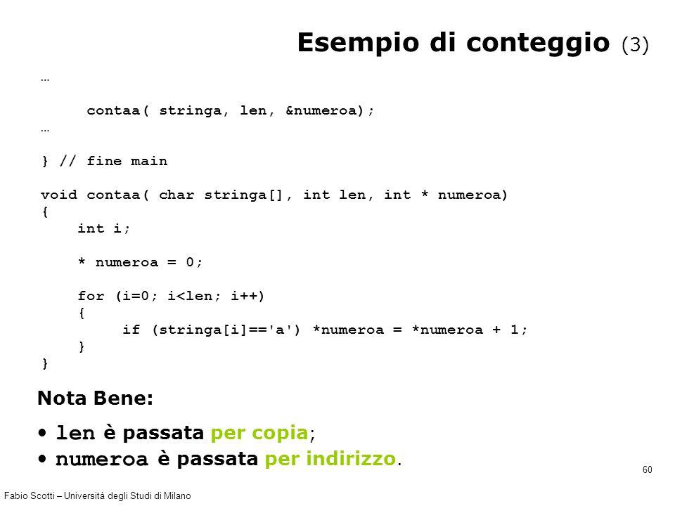 Fabio Scotti – Università degli Studi di Milano 60 Esempio di conteggio (3) … contaa( stringa, len, &numeroa); … } // fine main void contaa( char stri
