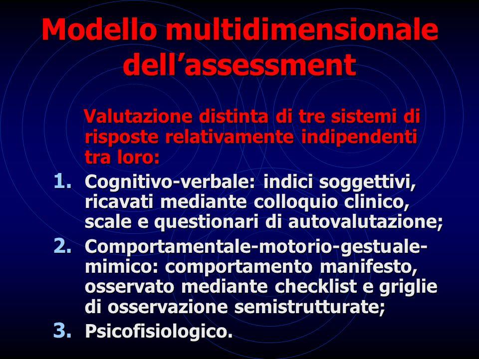 Modello multidimensionale dell'assessment Valutazione distinta di tre sistemi di risposte relativamente indipendenti tra loro: 1. Cognitivo-verbale: i