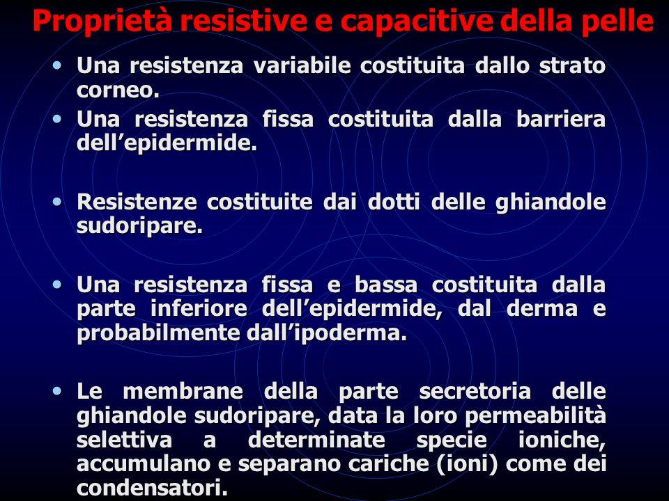 Proprietà resistive e capacitive della pelle Una resistenza variabile costituita dallo strato corneo. Una resistenza variabile costituita dallo strato