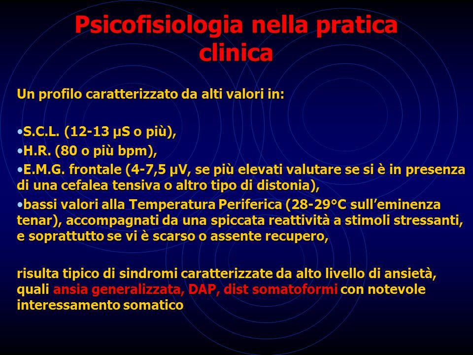 Psicofisiologia nella pratica clinica Un profilo caratterizzato da alti valori in: S.C.L. (12-13 µS o più), S.C.L. (12-13 µS o più), H.R. (80 o più bp