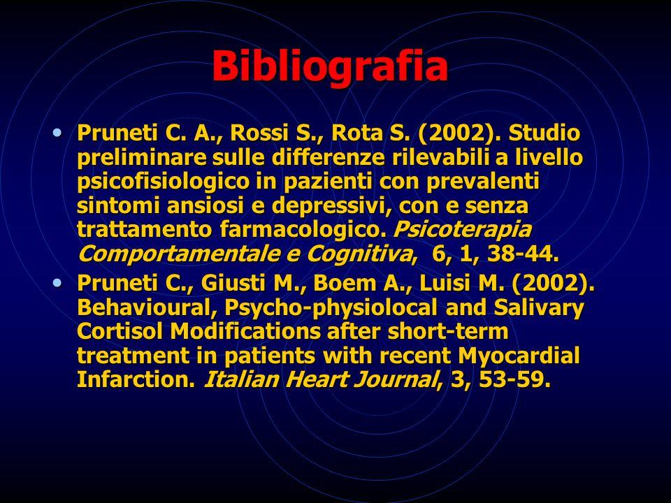 Bibliografia Pruneti C. A., Rossi S., Rota S. (2002). Studio preliminare sulle differenze rilevabili a livello psicofisiologico in pazienti con preval
