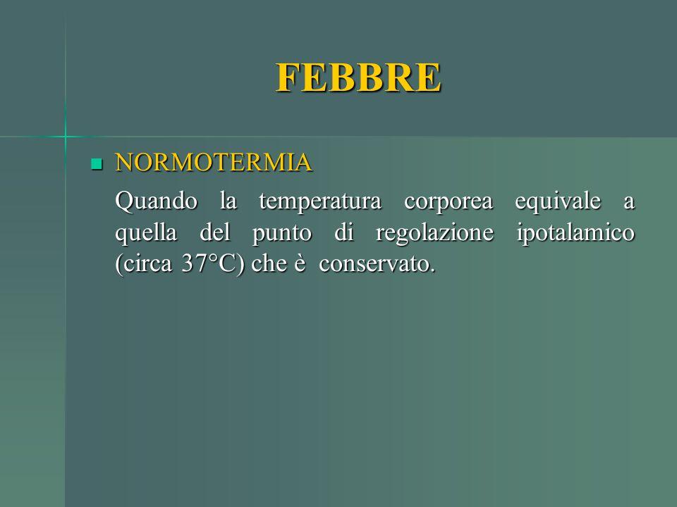 NORMOTERMIA NORMOTERMIA Quando la temperatura corporea equivale a quella del punto di regolazione ipotalamico (circa 37°C) che è conservato. FEBBRE