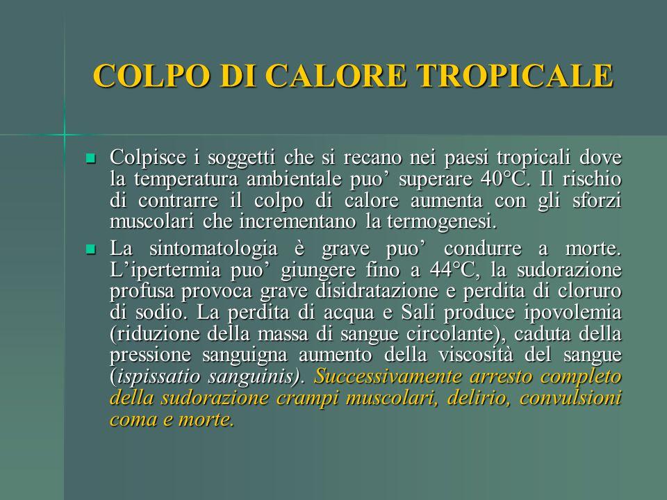 COLPO DI CALORE TROPICALE Colpisce i soggetti che si recano nei paesi tropicali dove la temperatura ambientale puo' superare 40°C. Il rischio di contr