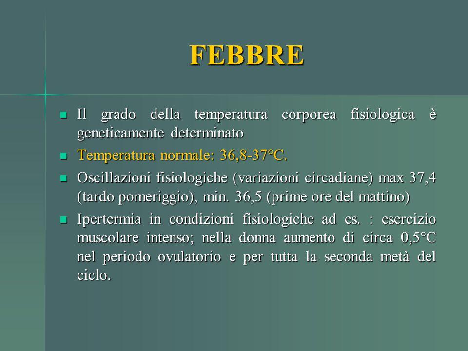 Il grado della temperatura corporea fisiologica è geneticamente determinato Il grado della temperatura corporea fisiologica è geneticamente determinat