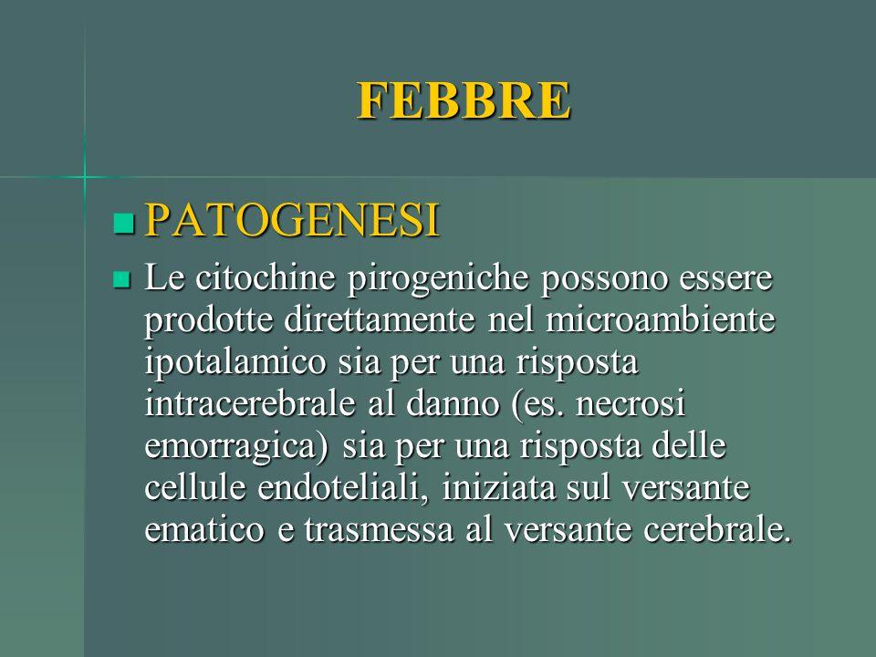 FEBBRE PATOGENESI PATOGENESI Le citochine pirogeniche possono essere prodotte direttamente nel microambiente ipotalamico sia per una risposta intracer
