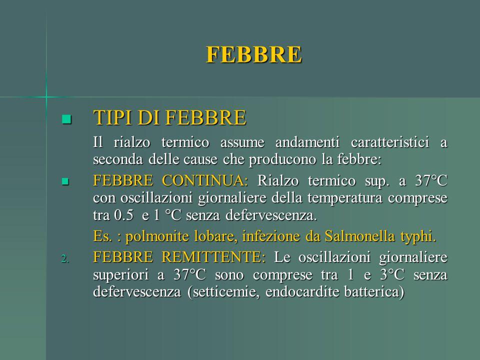 FEBBRE TIPI DI FEBBRE TIPI DI FEBBRE Il rialzo termico assume andamenti caratteristici a seconda delle cause che producono la febbre: FEBBRE CONTINUA: