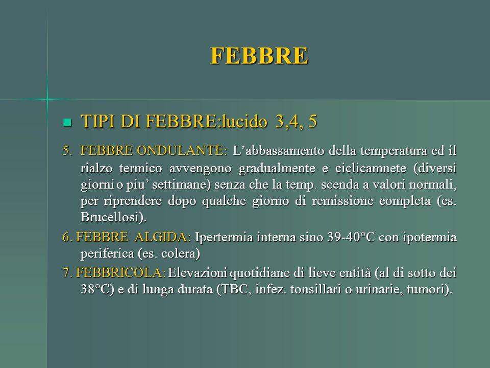 FEBBRE TIPI DI FEBBRE:lucido 3,4, 5 TIPI DI FEBBRE:lucido 3,4, 5 5. FEBBRE ONDULANTE: L'abbassamento della temperatura ed il rialzo termico avvengono