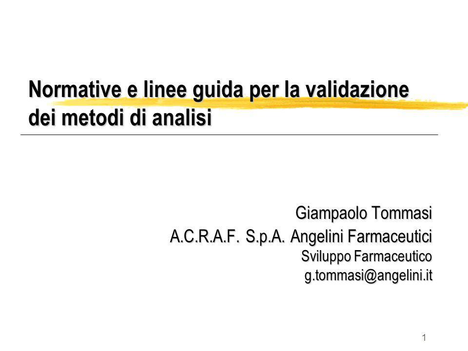 1 Normative e linee guida per la validazione dei metodi di analisi Giampaolo Tommasi A.C.R.A.F. S.p.A. Angelini Farmaceutici Sviluppo Farmaceutico g.t