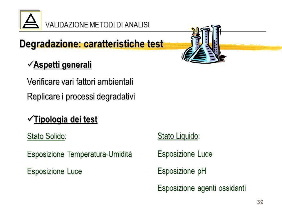 39 Tipologia dei test Tipologia dei test Stato Solido: Esposizione Temperatura-Umidità Esposizione Luce Stato Liquido: Esposizione Luce Esposizione pH