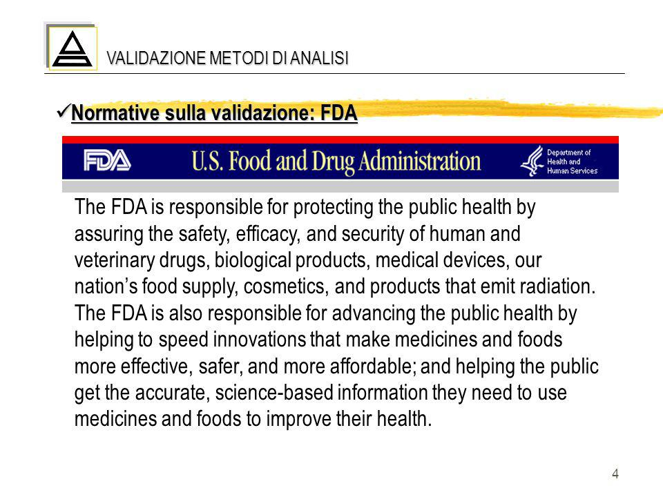 5 VALIDAZIONE METODI DI ANALISI Normative sulla validazione: FDA Normative sulla validazione: FDA  Reviewer Guidance - Validation of Chromatographic Methods  Guidance for Industry - Analytical Procedures and Methods Validation - Chemistry, Manufacturing, and Controls Documentation http://www.fda.gov