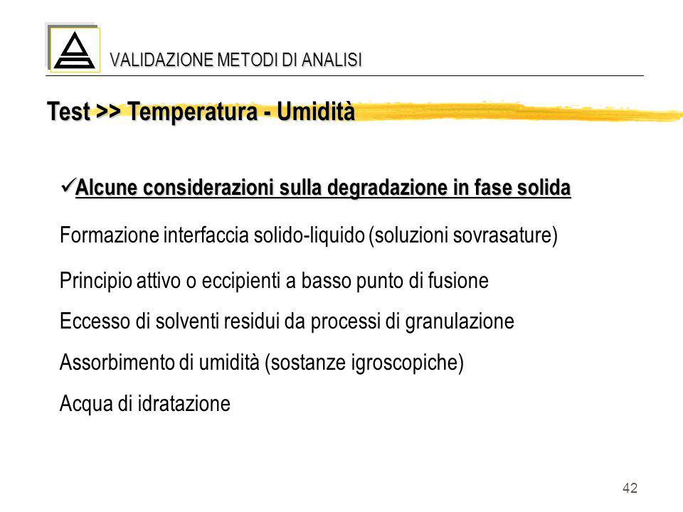 42 Test >> Temperatura - Umidità Alcune considerazioni sulla degradazione in fase solida Alcune considerazioni sulla degradazione in fase solida Forma