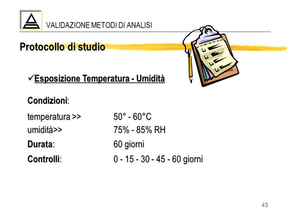 43 Esposizione Temperatura - Umidità Esposizione Temperatura - Umidità Condizioni : temperatura >>50° - 60°C umidità>>75% - 85% RH Durata :60 giorni C