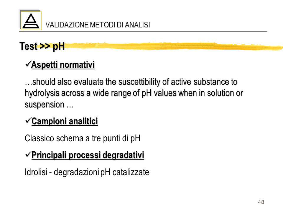 48 Test >> pH Aspetti normativi Aspetti normativi …should also evaluate the suscettibility of active substance to hydrolysis across a wide range of pH