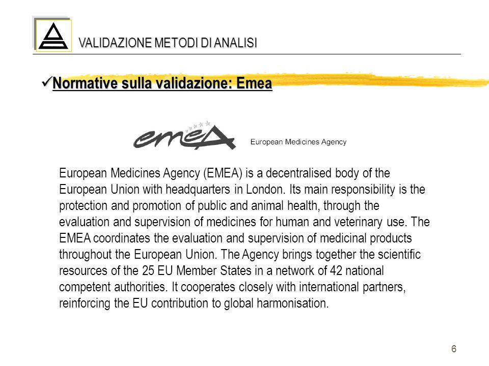 6 VALIDAZIONE METODI DI ANALISI Normative sulla validazione: Emea Normative sulla validazione: Emea European Medicines Agency (EMEA) is a decentralise