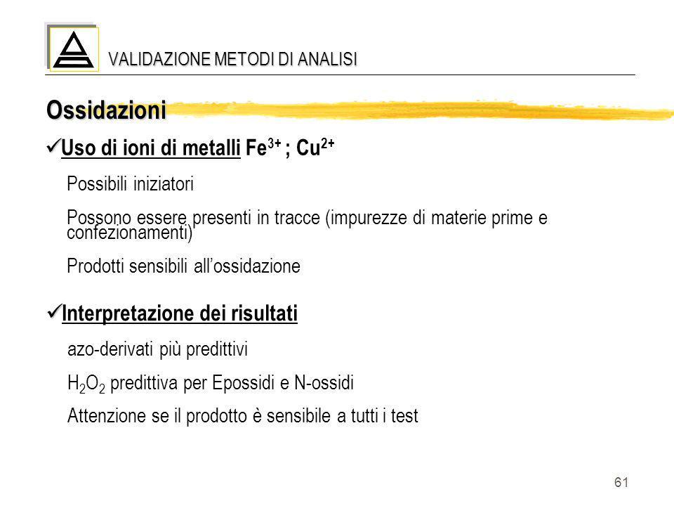 61 Ossidazioni Uso di ioni di metalli Fe 3+ ; Cu 2+ Possibili iniziatori Possono essere presenti in tracce (impurezze di materie prime e confezionamen