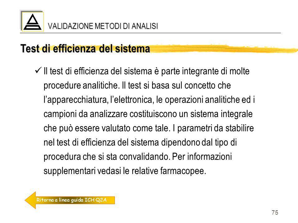 75 Test di efficienza del sistema Il test di efficienza del sistema è parte integrante di molte procedure analitiche. Il test si basa sul concetto che