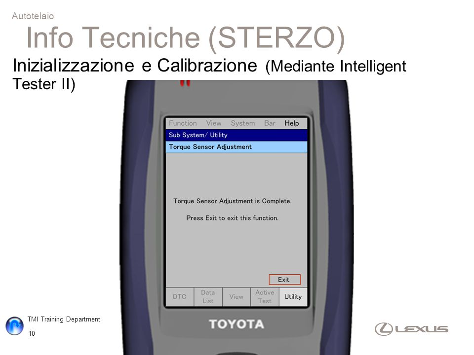 TMI Training Department 10 Autotelaio Inizializzazione e Calibrazione (Mediante Intelligent Tester II) Info Tecniche (STERZO)