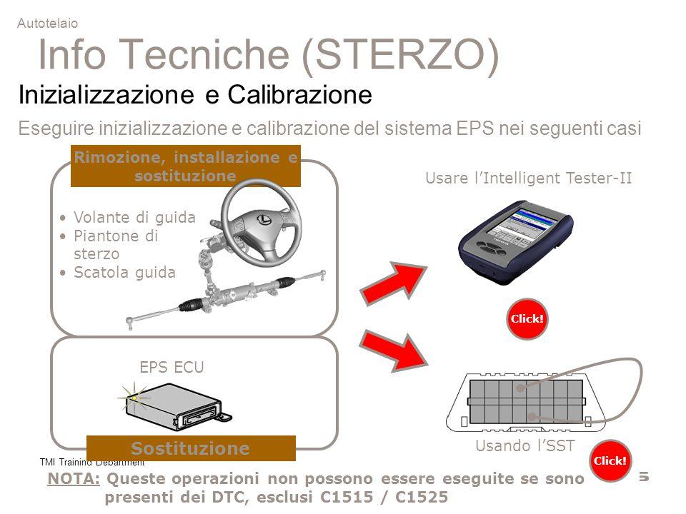 TMI Training Department 2 Info Tecniche (STERZO) Inizializzazione e Calibrazione Eseguire inizializzazione e calibrazione del sistema EPS nei seguenti