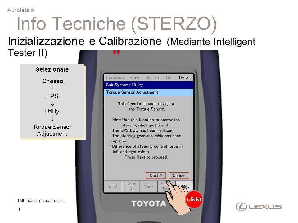 TMI Training Department 3 Inizializzazione e Calibrazione (Mediante Intelligent Tester II) Selezionare Chassis  EPS  Utility  Torque Sensor Adjustm