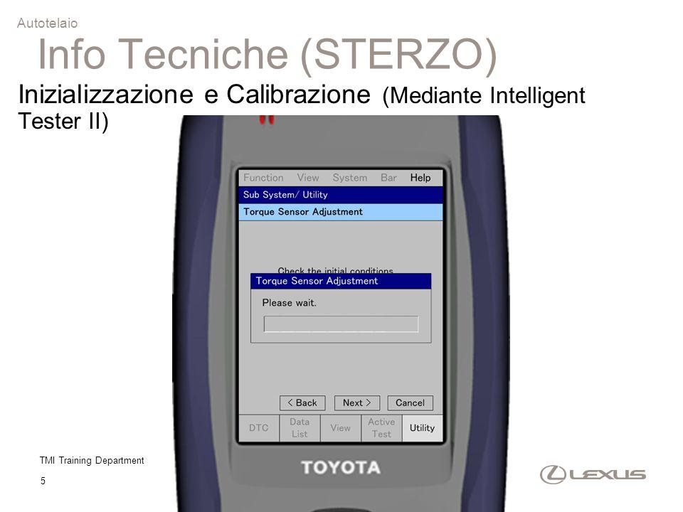 TMI Training Department 5 Autotelaio Inizializzazione e Calibrazione (Mediante Intelligent Tester II) Info Tecniche (STERZO)