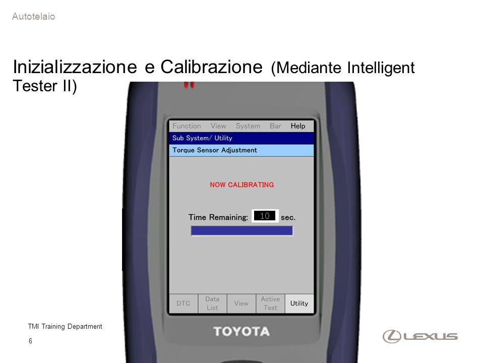 TMI Training Department 6 10 Autotelaio Inizializzazione e Calibrazione (Mediante Intelligent Tester II)