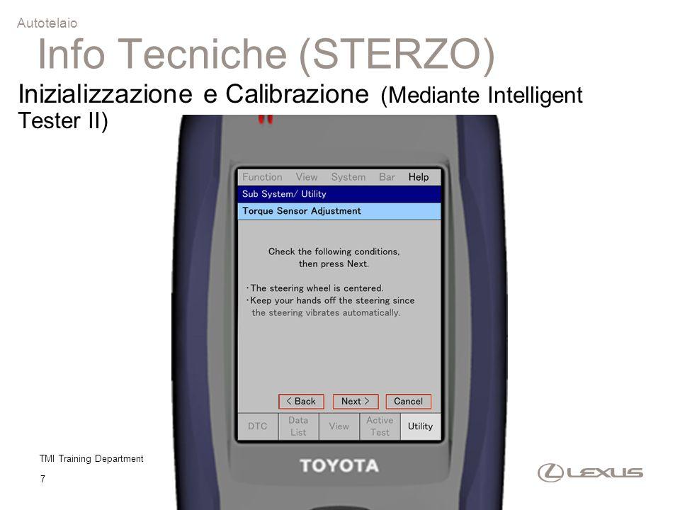 TMI Training Department 7 Autotelaio Inizializzazione e Calibrazione (Mediante Intelligent Tester II) Info Tecniche (STERZO)
