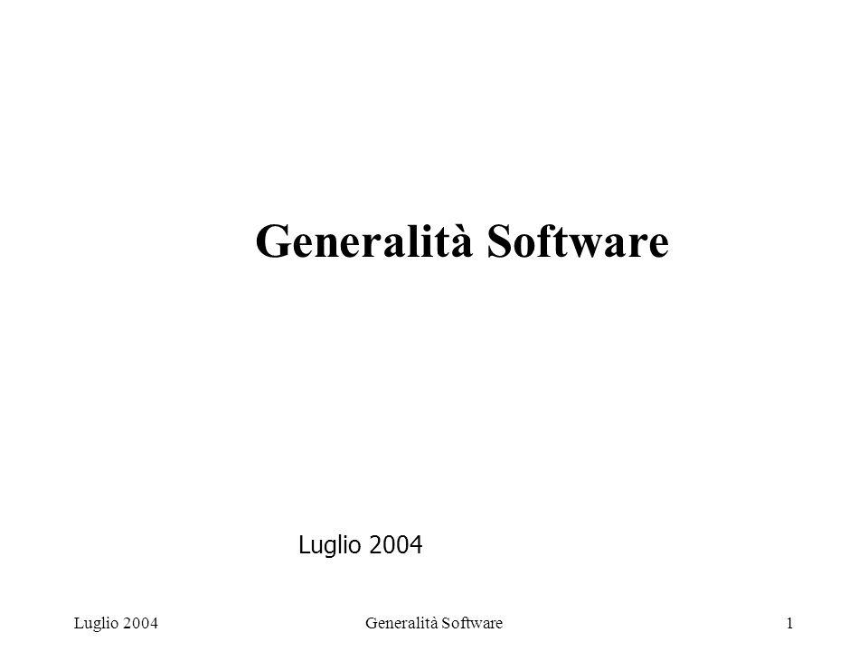 Generalità Software1Luglio 2004 Generalità Software Luglio 2004