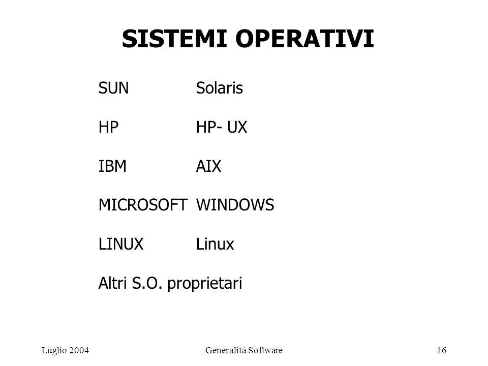 Generalità Software16Luglio 2004 SISTEMI OPERATIVI SUNSolaris HPHP- UX IBMAIX MICROSOFTWINDOWS LINUXLinux Altri S.O.