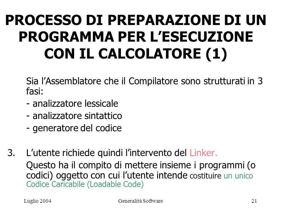 Generalità Software21Luglio 2004 PROCESSO DI PREPARAZIONE DI UN PROGRAMMA PER L'ESECUZIONE CON IL CALCOLATORE (1) Sia l'Assemblatore che il Compilatore sono strutturati in 3 fasi: - analizzatore lessicale - analizzatore sintattico - generatore del codice 3.L'utente richiede quindi l'intervento del Linker.