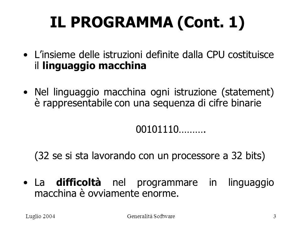 Generalità Software3Luglio 2004 IL PROGRAMMA (Cont.