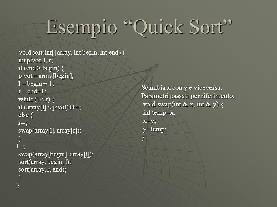 "Esempio ""Quick Sort"" void sort(int[] array, int begin, int end) { void sort(int[] array, int begin, int end) { int pivot, l, r; int pivot, l, r; if (e"